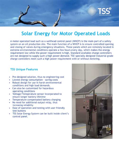 Solar Energy for Motor Operated Loads